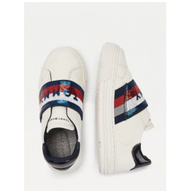 SNEAKERS TOMMY HILFIGER BAMBINA IN ECOPELLE BIANCA 35/40