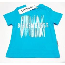 T-shirt  Bikkembergs bambino estiva mezza manica turchese 12 mesi - 6 anni