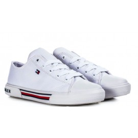 SNEAKERS TOMMY HILFIGER IN TELA BIANCA 28/41 CON LACCI BIANCA P/E 2021