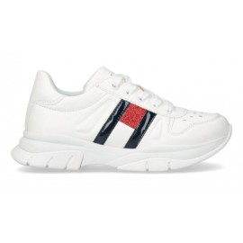 SNEAKERS TOMMY HILFIGER BAMBINA IN ECOPELLE BIANCA 32/40